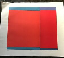 LUDWIG SANDER 1970 Geometric Color Field Lithograph Pawnee Signed Abstract