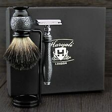 Sliver Antique Men's Shaving Set/Kit (De Safety Razor,Badger Brush & Dual Stand)