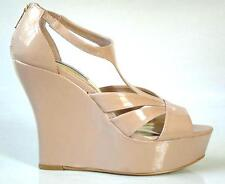 new STEVE MADDEN beige open-toe Tstrap platforms WEDGES shoes 11 - perfect NUDE
