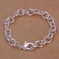 925 Silver Fashion Elegant solid women Charm chain Bracelet JEWELRY