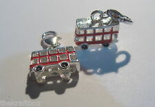 1 x Silver Plated Enamel 3D Red London Bus Lobster Clasp Charm 16mm Long (FA18)