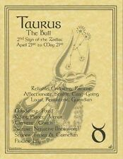 TAURUS ZODIAC POSTER A4 SIZE Wicca Pagan Witch BOOK OF SHADOWS Astrology