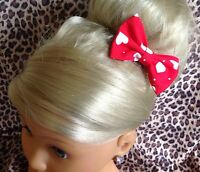 "NEW SMALL HANDMADE LOVE HEART PRINT COTTON 3"" BOW HAIR CLIP CUTE VINTAGE RETRO"
