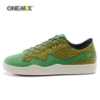 Light Running Shoes Casual Sneakers Mens Skatebording Green Leather Croco ONEMIX