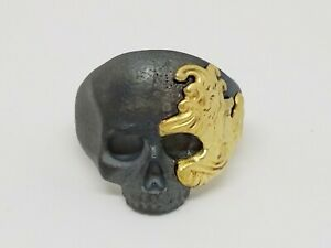 David Yurman Waves Large Skull Ring with Gold Size 10