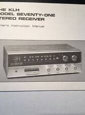 KLH Model Seventy One Stereo Receiver Original Owners Manual 18 Pages