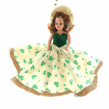 Vintage Irish Doll in Clover Dress and Bonnet 2.5-10x9.5 inch