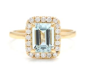 2.10 Carats Natural Aquamarine and Diamond 14K Solid Yellow Gold Ring