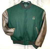 "Vintage Golden Bear ""SONY"" Leather Wool Varsity Jacket Size XL Green Brown CLEAN"