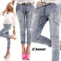 Jeans boyfriend floreale dettaglio bottoni taglie XS,S,M,L