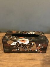 Vintage Chinoiserie Tissue Box Holder Black Gold Red Fan Flowers VGC