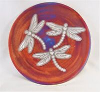 "Dragonfly 7"" Silhouette Plate Raku Process Hand Thrown Pottery (B)"