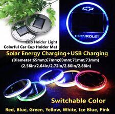 2pcs Solar LED Chevrolet Cup Mat Lighting Accessories Light Fits Chevrolet