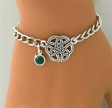 Trinity Knot Emerald Charm Bracelet