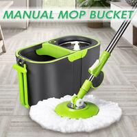 360° Spin Floor Mop Rotating Bucket Set Wheel Home Cleaning Microfiber Head  US