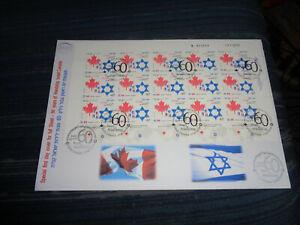 ISRAEL FULL SHEET FDC:  ISRAEL-CANADA FRIENDSHIP