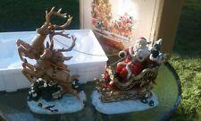 Large 2003 Grandeur Noel Porcelain Santa Sleigh Reindeer Christmas Statue Decor