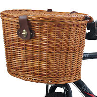 WICKER BICYCLE FRONT PICNIC BASKET WITH LID & CARRY HANDLE SHOPPING BIKE/CYCLE
