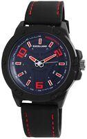 Excellanc Herrenuhr Blau Rot Schwarz Analog Kunst-Leder Armbanduhr X2900088002