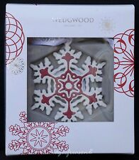 WEDGWOOD RED WHITE RELIEF JASPER WARE SNOWFLAKE ORNAMENT CHRISTMAS TREE BAUBLE