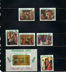 CHRISTMAS.-1970  ''LIBERIA''  ART''   S/S   6 STAMPS