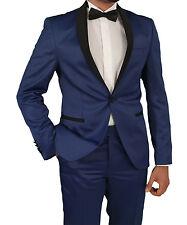Herren Smoking in Blau Satin -Regular -Slim -Herrenanzug-Anzug-Hochzeit-Bühne