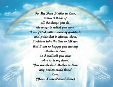 Mothers Day Gift/ Birthday Gift For Mother in Law Personalized Poem Rainbow Hand