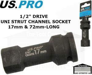 """US PRO Tools 17mm Strut Channel Socket Unistrut Type Length 72mm 1/2"""" dr, 3767"""