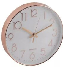 GIFT COPPER EFFECT ROUND KITCHEN WALL CLOCK RETRO ROSE GOLD BRONZE QUARTZ GENUIN