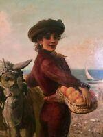 """Sublime Huile sur panneau Orientaliste  """" La Belle marchande d'oranges"""", fin XIX"""