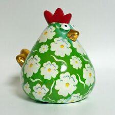 POMME PIDOU - exklusive Spardose - Keramikfigur HUHN Mathilda grün / weiße Bl.