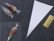 100 Clear Cellophane Cone Bags Twist Ties Large size Party Sweet Candy Kids