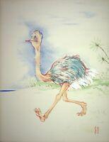 [Caricatura] Georges Bastia - Maurice Caballero, Avestruz - Litografía Firmada
