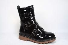 Women's Patent Faux Leather Low Heel Triple Buckle Combat Boots  Size 5.5 - 10
