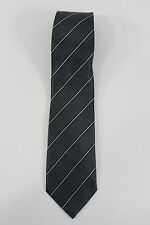 Armani Collezioni Men Silk Formal Neck Tie Dark Gray White Striped Italy Made