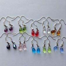 Wholesale 10 Pairs Beautiful Czech Teardrop Glass Girl Earrings Silver P Jewelry
