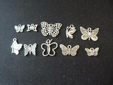 Tibetan Silver Plated Butterfly Charms. Mixed Pack of 10.