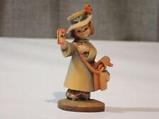 """Vintage Anri 3"""" Postal Girl """"Love Letter"""" Wood Carved Figurine"""
