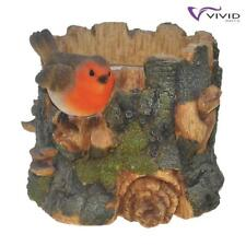 Vivid Arts Tree Trunk Planter Pot with Robin Ornament | Indoor & Outdoor