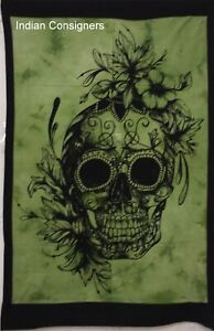 Cotton Poster Wall Hanging Indian Tapestry Small Skull Flower Design Beautiful