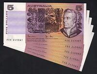 Australia R-208. (1983) 5 Dollars.. Johnston/Stone..  UNC - CONSEC Run of 5