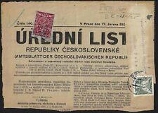 CZECHOSLOVAKIA 1937 PORTION OF NEWSPAPER WITH 2K & 5K IMPERF FRANKING