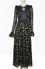 Giambattista Valli X H&M Black Jacquard Metallic Dress w/Flounces, UK Size 8