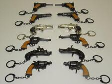 12 HAND GUN KEY CHAINS DIE CAST WHOLESALE LOT 6 DIFFERENT MODELS GUN KEYCHAINS