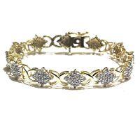 10k yellow gold 2.00ct SI2 H round diamond cluster tennis bracelet 12.3g