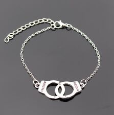 women men freedom lover chain bangle Vintage retro handcuff metal bracelet braid