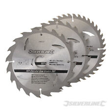 3 Circular Saw Blades 180mm Diameter 30mm Bore with 20 & 16mm Bushes Mitre 6 1/2