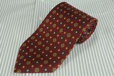Brooks Basics Men's Tie Red Navy & Brown Geometric Silk Necktie 60 x 3.5 in.