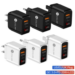 QC 3.0 20W Fast Charger Type-C Power Adapter Cable For iPhone 12 Pro Samsung UK