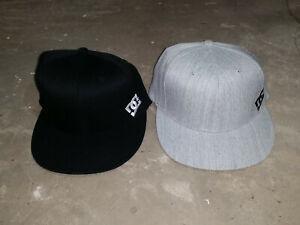 DC Shoes Baseball Cap Hat Flexfit L-XL Small Size Logo Black or Gray